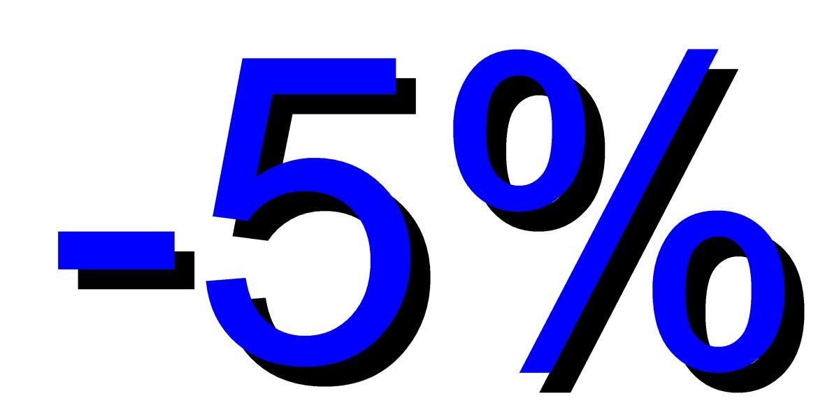 Descuento 5 por ciento azul