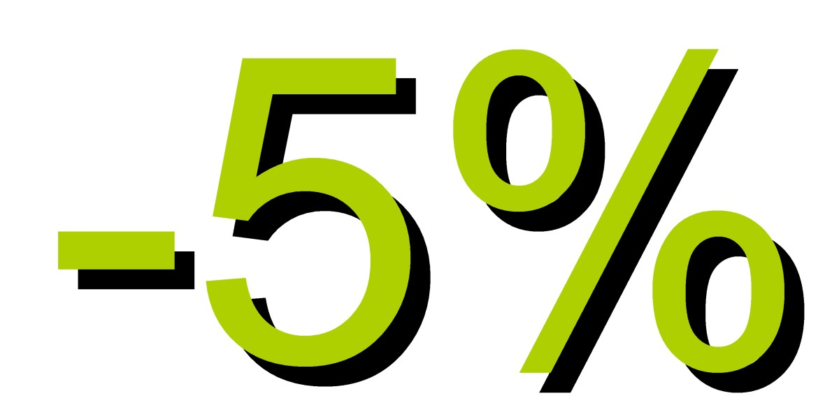 Descuento 5 por ciento verde clarito
