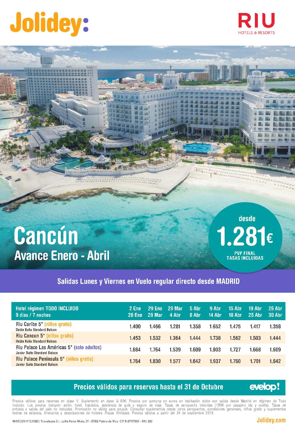 Oferta Jolidey RIU Cancún Venta Anticipada Invierno 2019