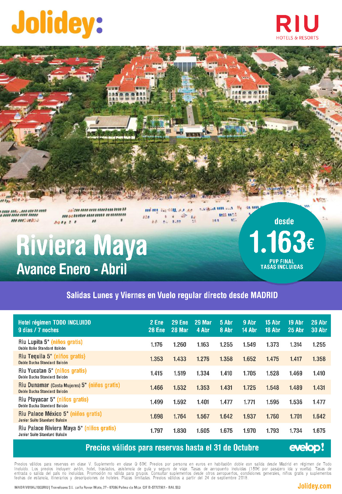 Oferta Jolidey RIU Riviera Maya Venta Anticipada Invierno 2019