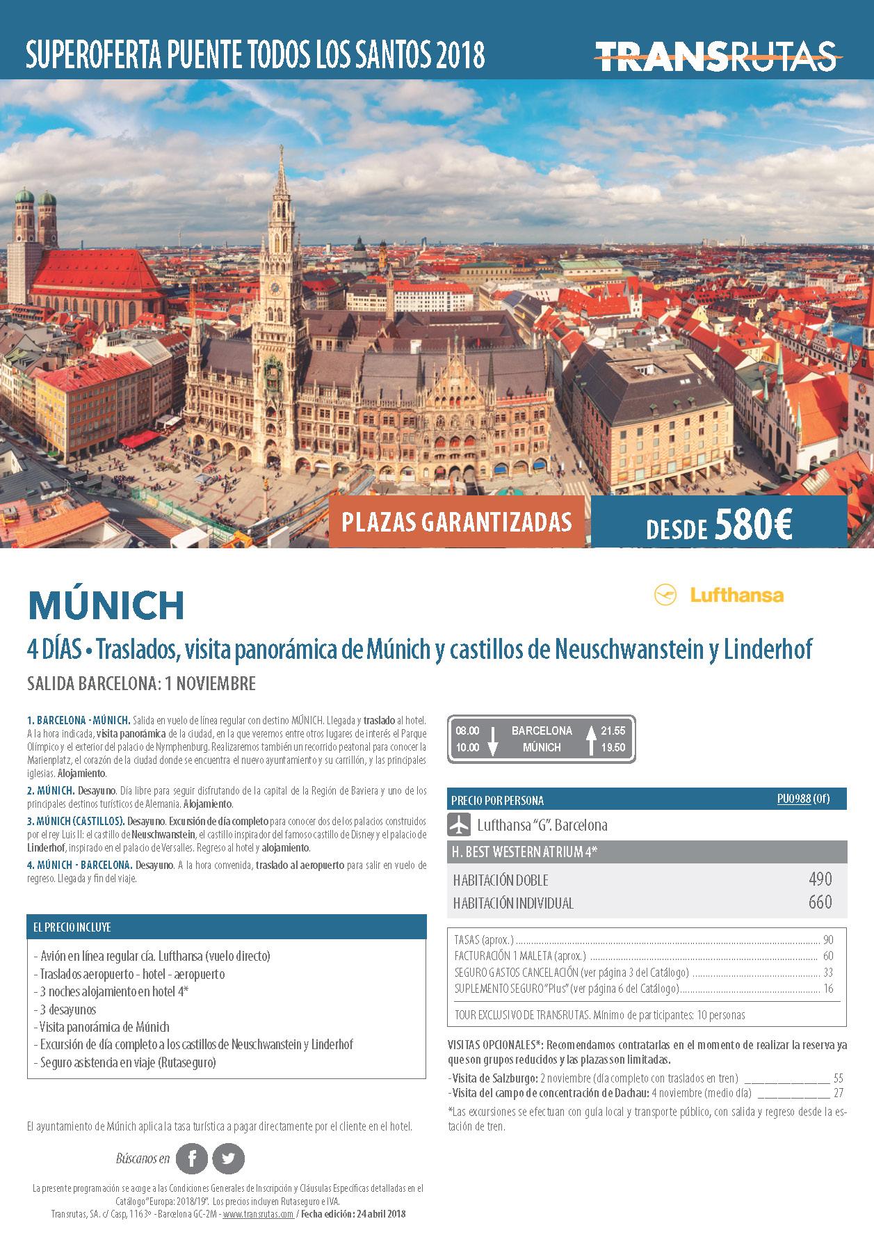Oferta Transrutas Puente de Todos los Santos 2018 en Munich vuelo directo desde Barcelona