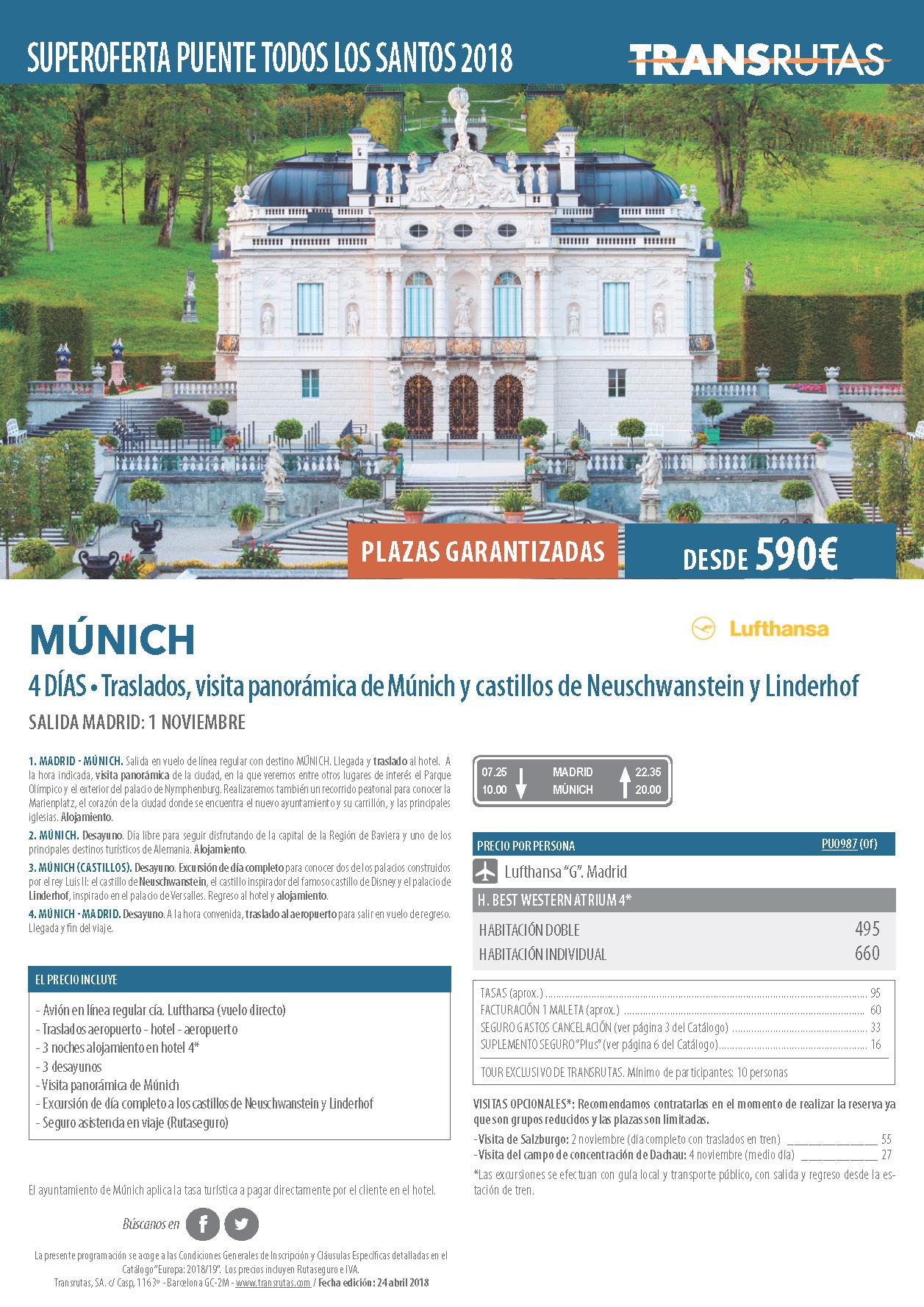 Oferta Transrutas Puente de Todos los Santos 2018 en Munich vuelo directo desde Madrid