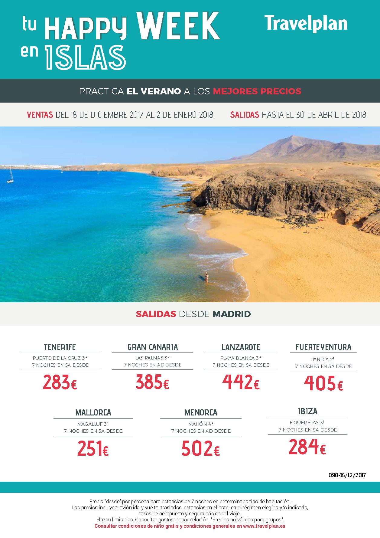 Oferta Travelplan Baleares y Canarias Invierno 2018