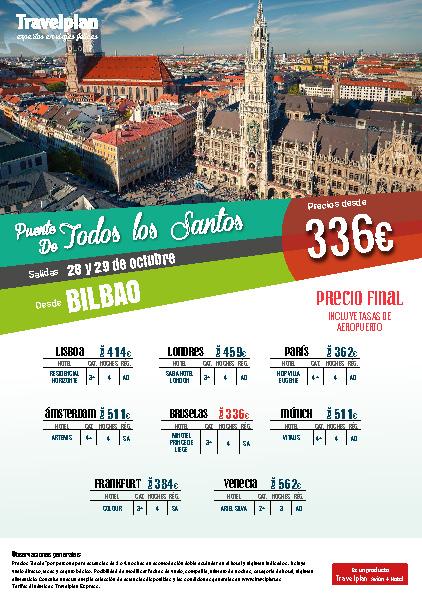 Oferta Travelplan Puente de Noviembre 2016 Amsterdam Londres Frankfurt Venecia vuelo directo desde Bilbao