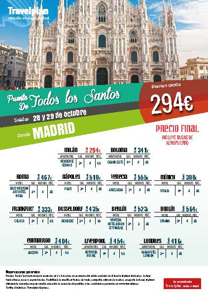 Oferta Travelplan Puente de Noviembre 2016 Edimburgo Bolonia Venecia Napoles Dublin Vuelo directo desde Madrid