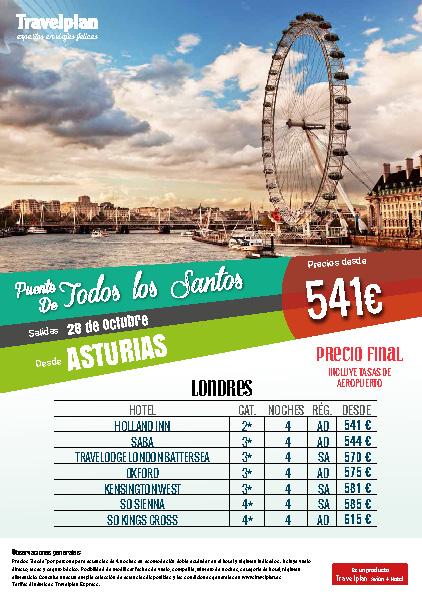 Oferta Travelplan Puente de Noviembre 2016 Estancia en Londres vuelo directo desde Asturias