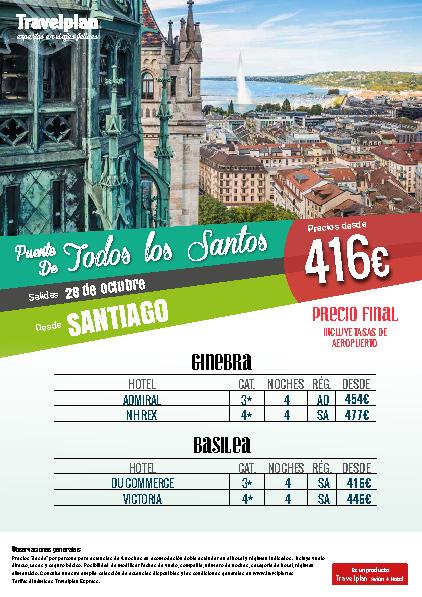 Oferta Travelplan Puente de Noviembre 2016 Ginebra Basilea vuelo directo desde Santiago