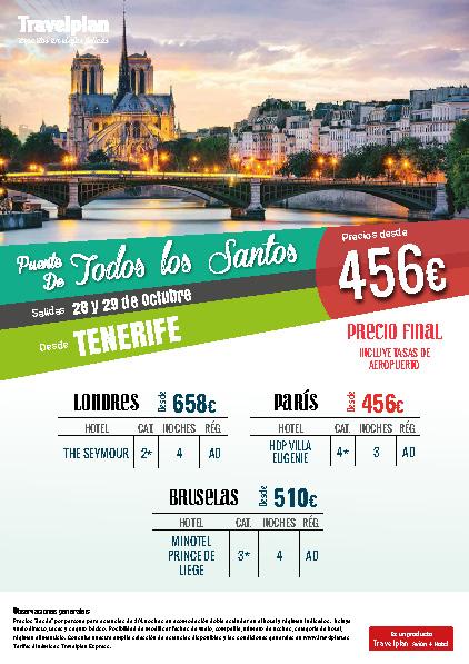 Oferta Travelplan Puente de Noviembre 2016 Londres Bruselas y Paris vuelo directo desde Tenerife