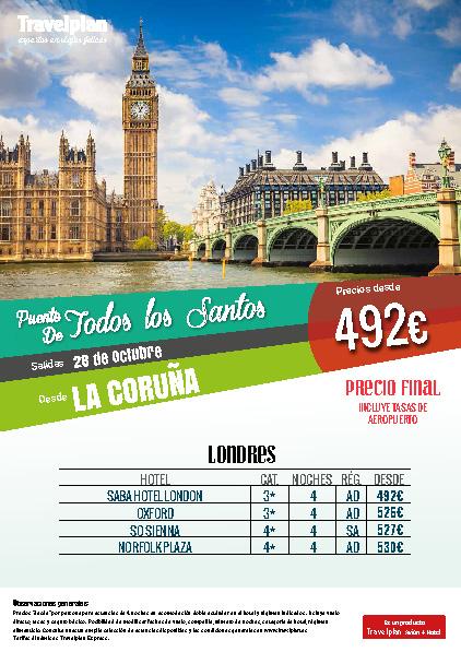 Oferta Travelplan Puente de Noviembre 2016 Londres vuelo directo desde La Coruña