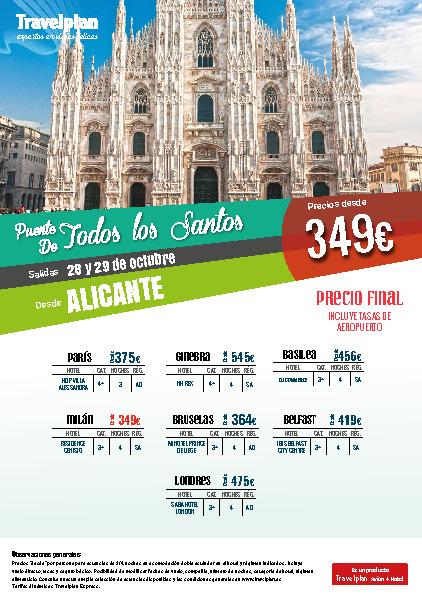 Oferta Travelplan Puente de Noviembre 2016 Milan Basilea Belfast Londres vuelo directo desde Alicante