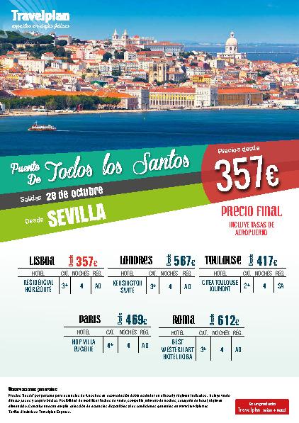 Oferta Travelplan Puente de Noviembre 2016 Roma Londres Paris vuelo directo desde Sevilla