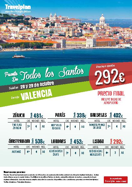 Oferta Travelplan Puente de Noviembre 2016 Zurich Amsterdam Londres vuelo directo desde Valencia