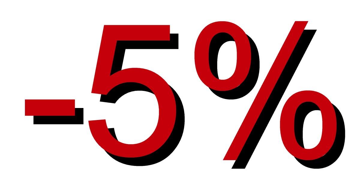 Descuento 5 por ciento rojizo