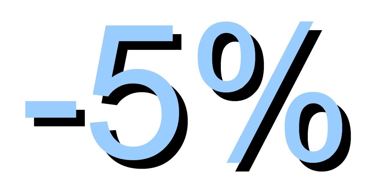 Descuento 5 por ciento azul pastel