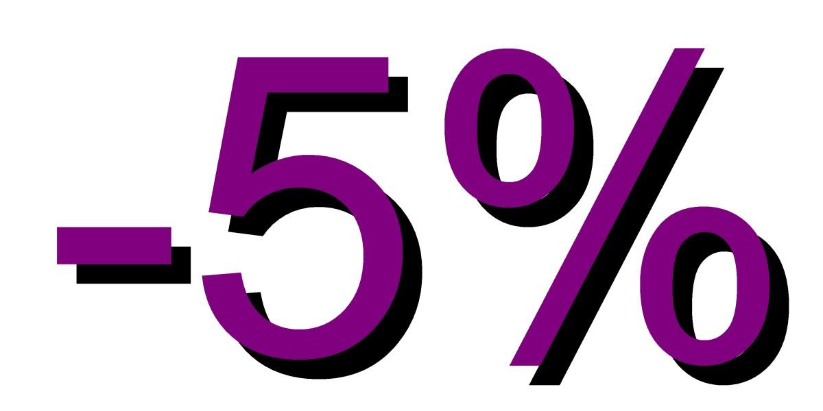 5 por ciento descuento morado