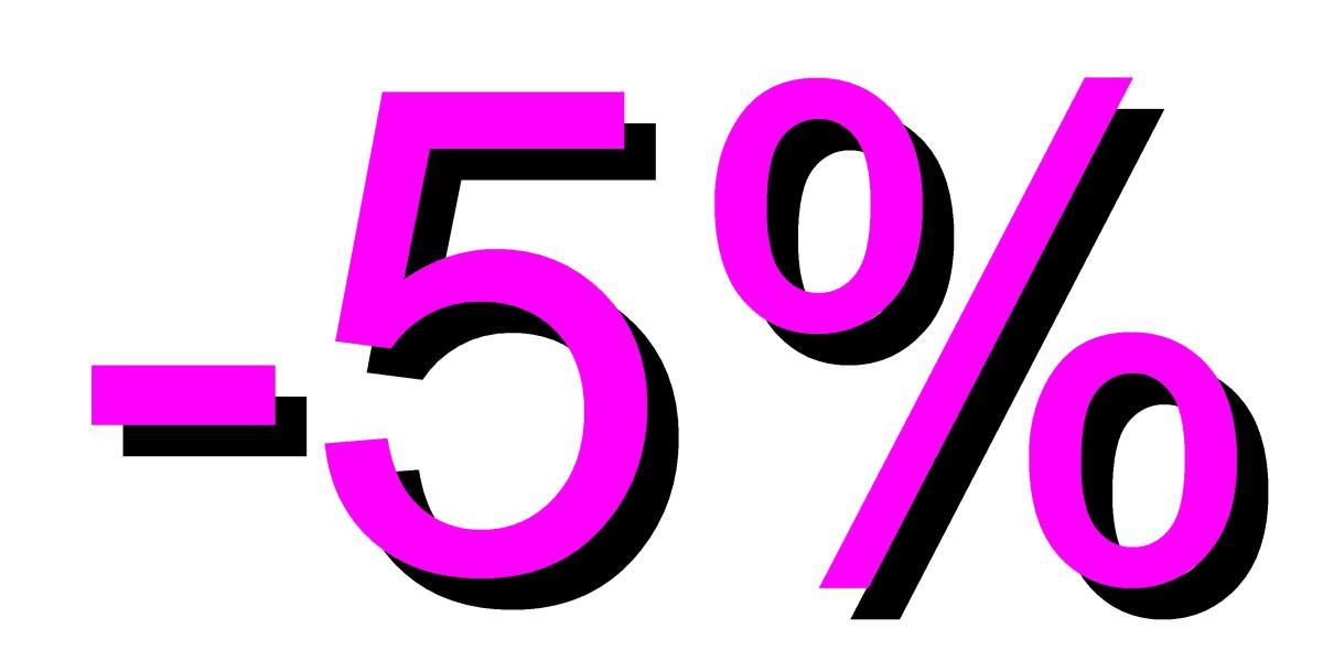 5 por ciento descuento rosa