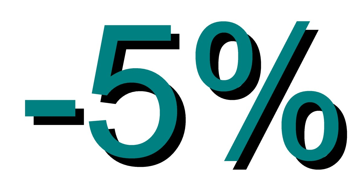 Descuento 5 por ciento turquesa