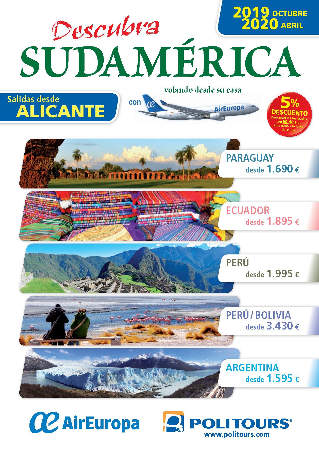 Catalogo Politours Sudamerica desde Alicante 2019-2020