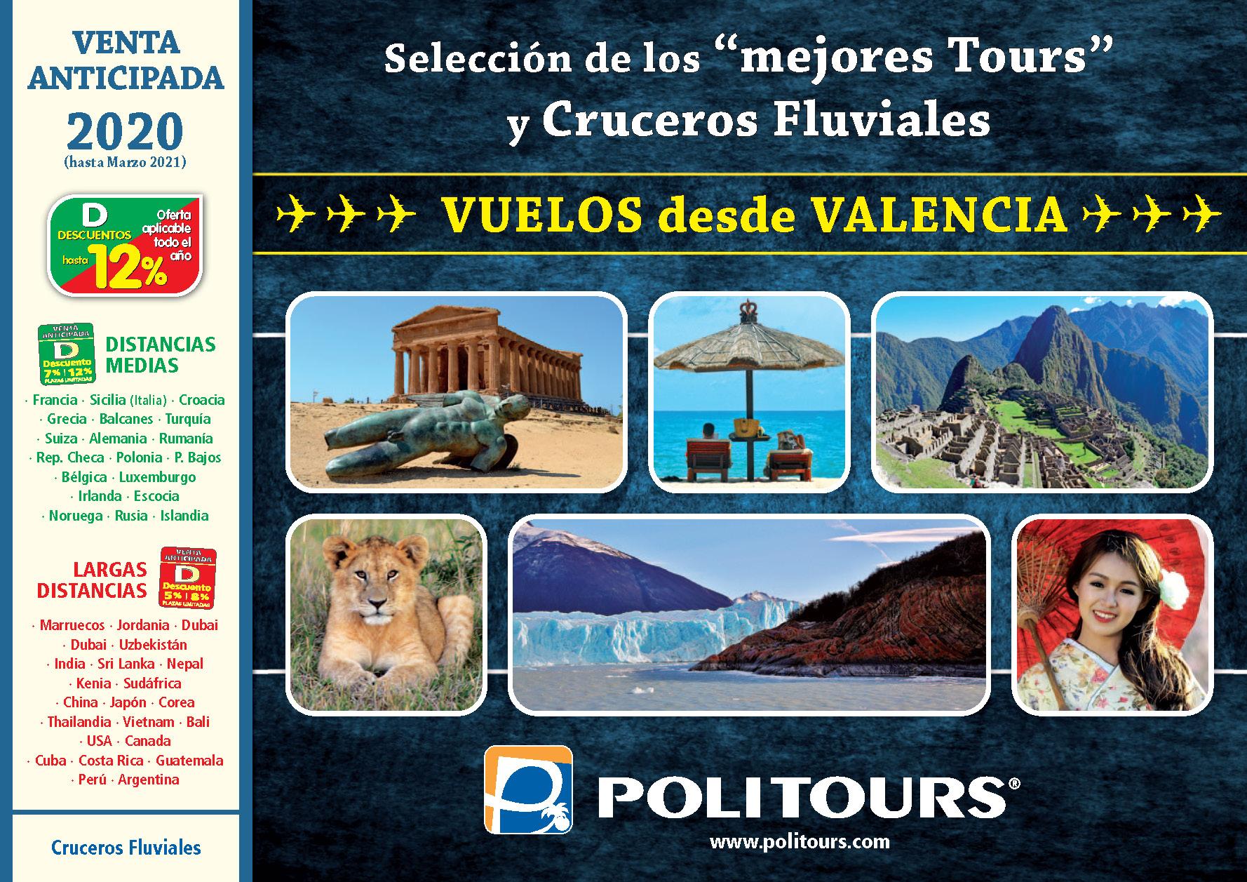 Catalogo Politours Venta Anticipada 2020 salidas Valencia