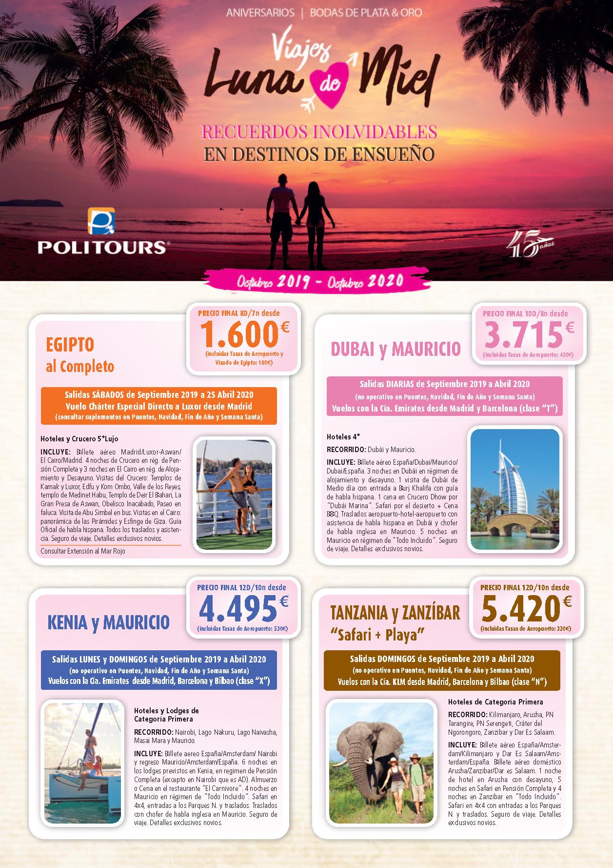 Catalogo Politours Viajes de Novios 2019-2020