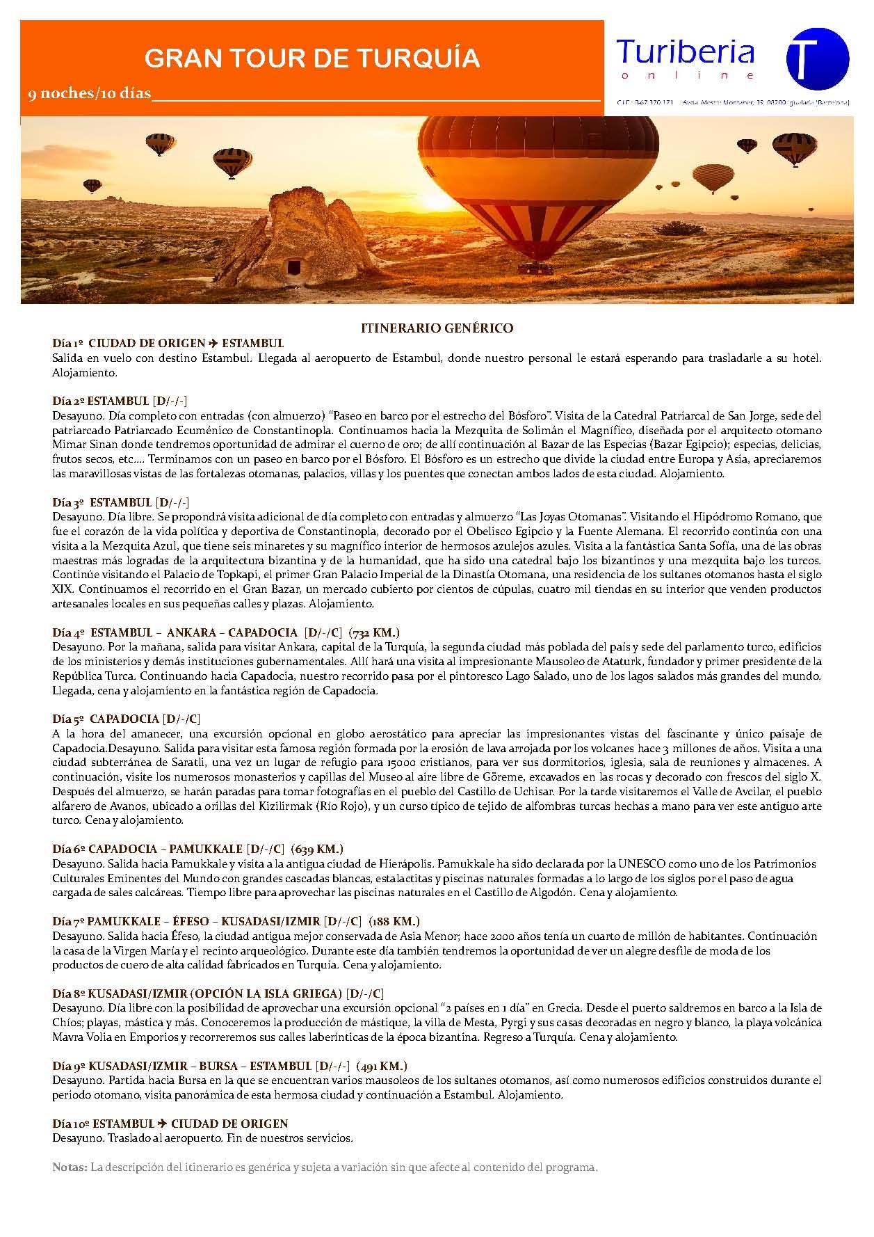Itinerario Gran Tour de Turquía 2021