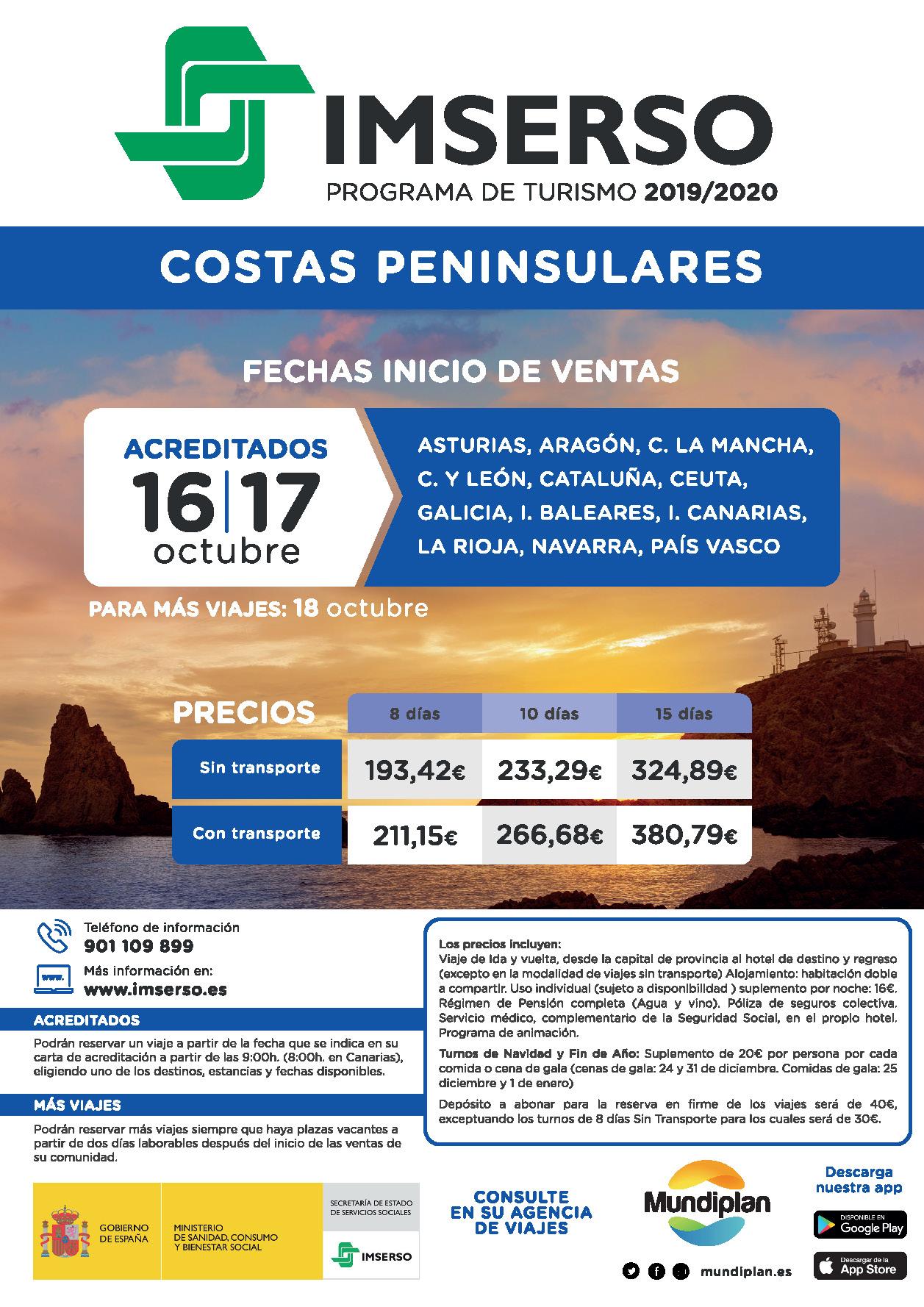 Mundiplan Fechas y Precios viajes Imserso inicio ventas 16-10-2019