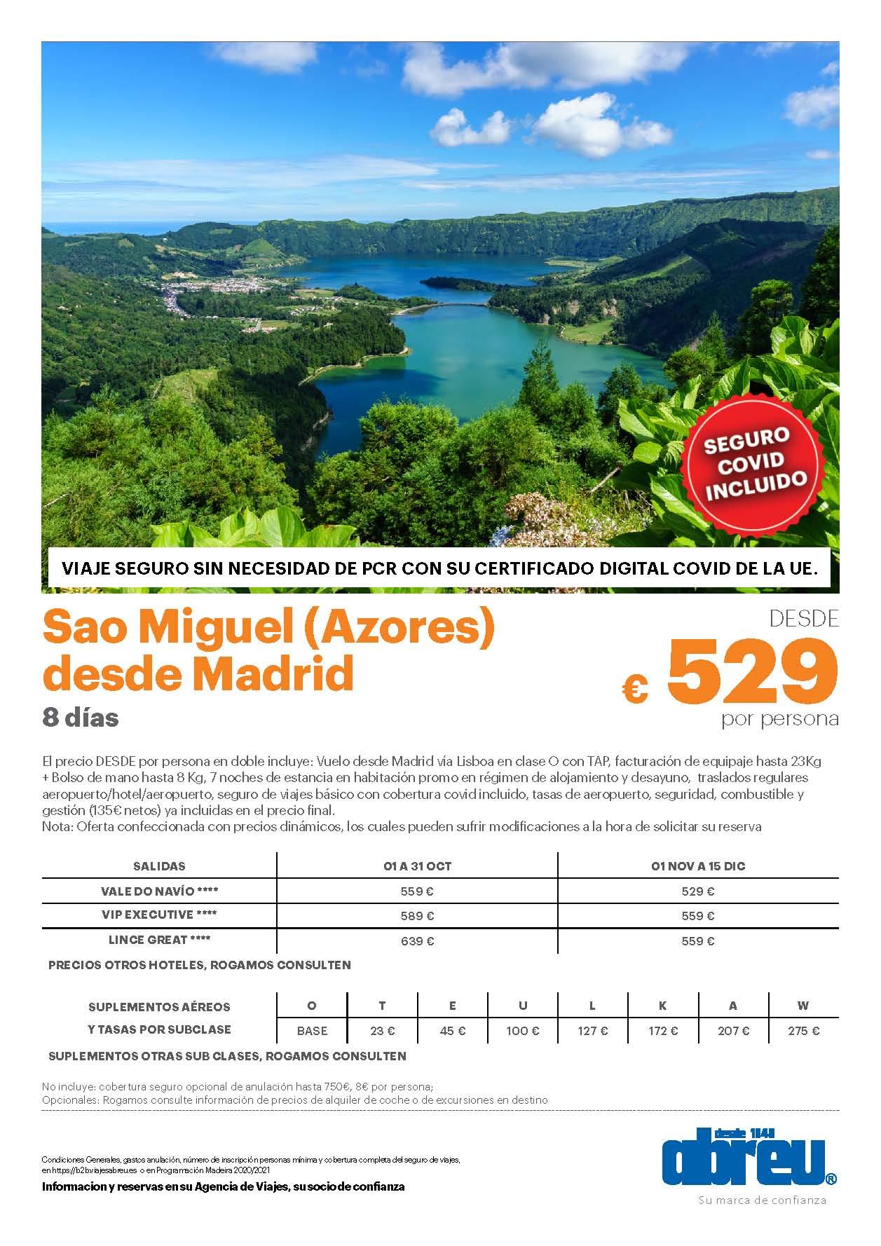 Oferta Abreu Azores Isla de Sao Miguel Octubre Noviembre y Diciembre 2021 salidas desde Madrid