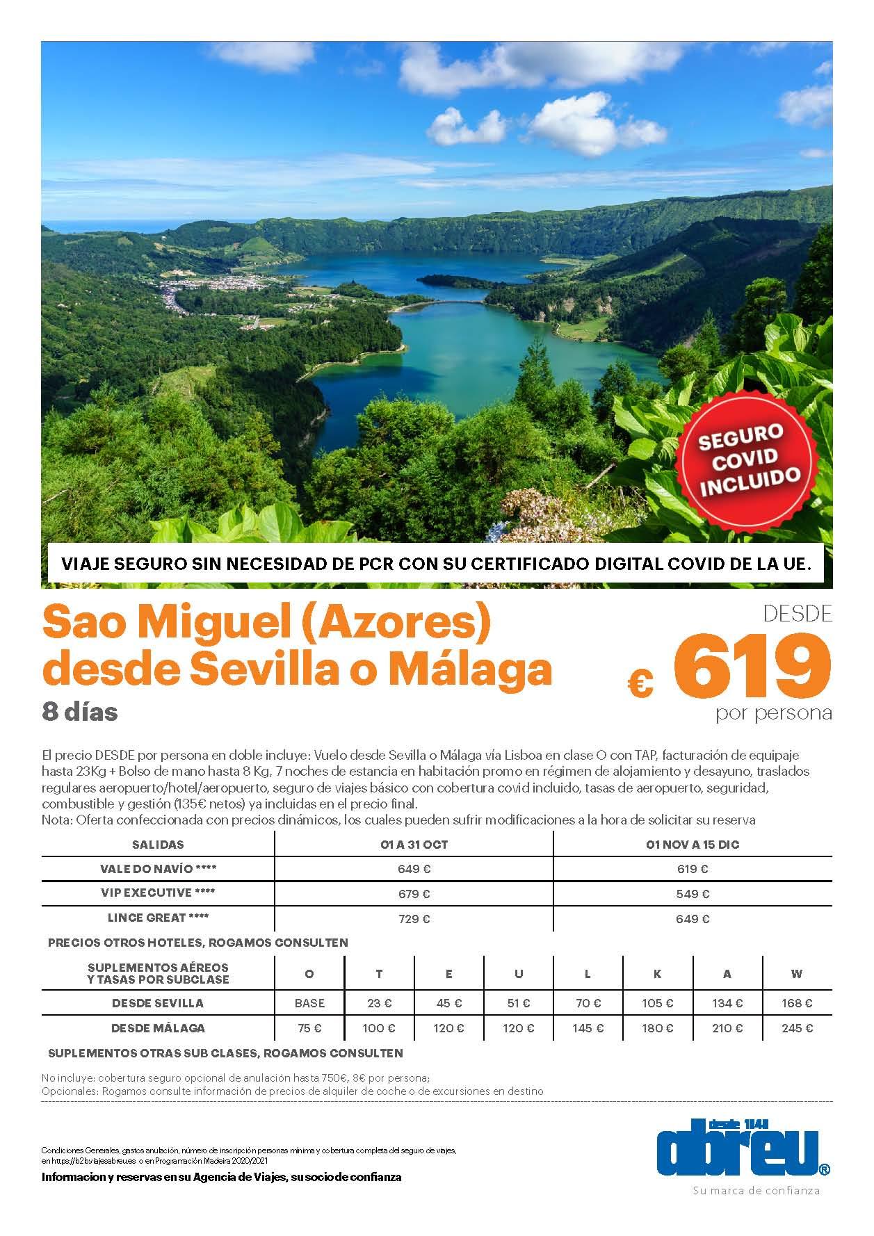 Oferta Abreu Azores Isla de Sao Miguel Octubre Noviembre y Diciembre 2021 salidas desde Sevilla y Malaga