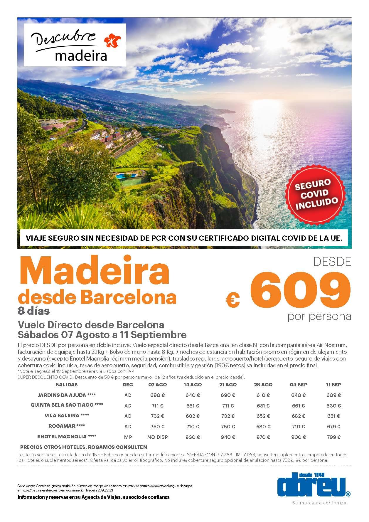 Oferta Abreu Madeira Agosto Septiembre 2021 vuelo directo desde Barcelona