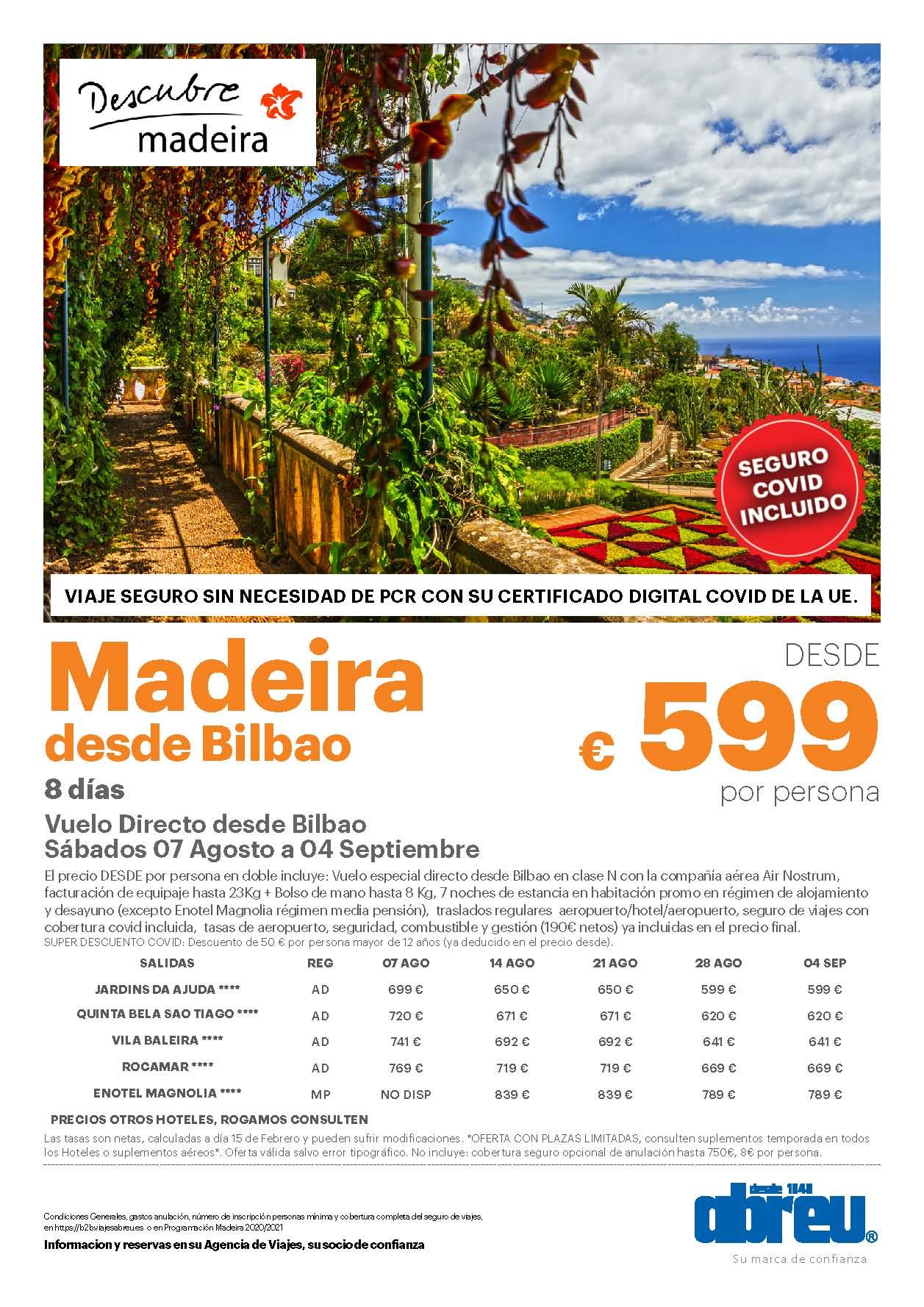 Oferta Abreu Madeira Agosto Septiembre 2021 vuelo directo desde Bilbao