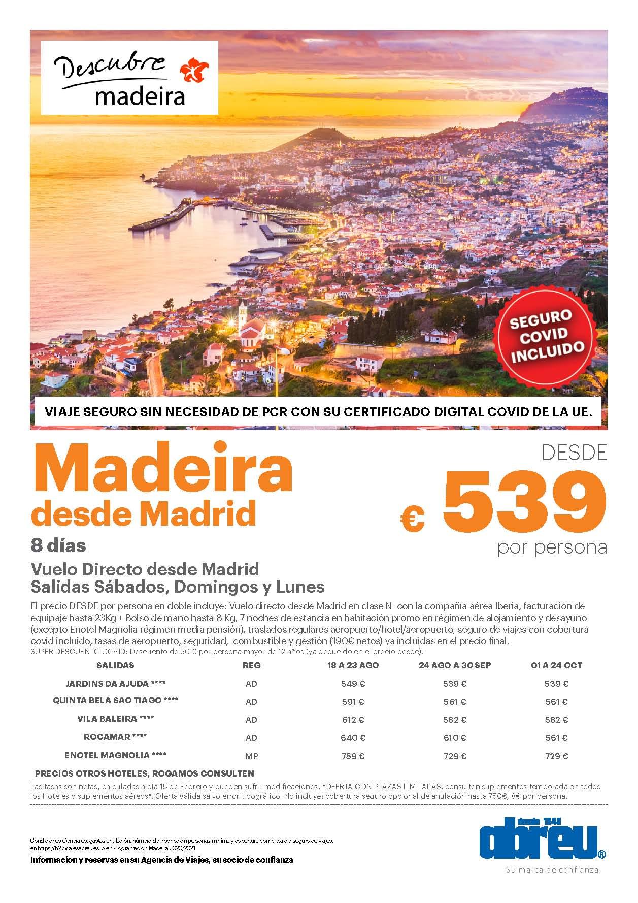 Oferta Abreu Madeira Agosto Septiembre Octubre 2021 vuelo directo desde Madrid