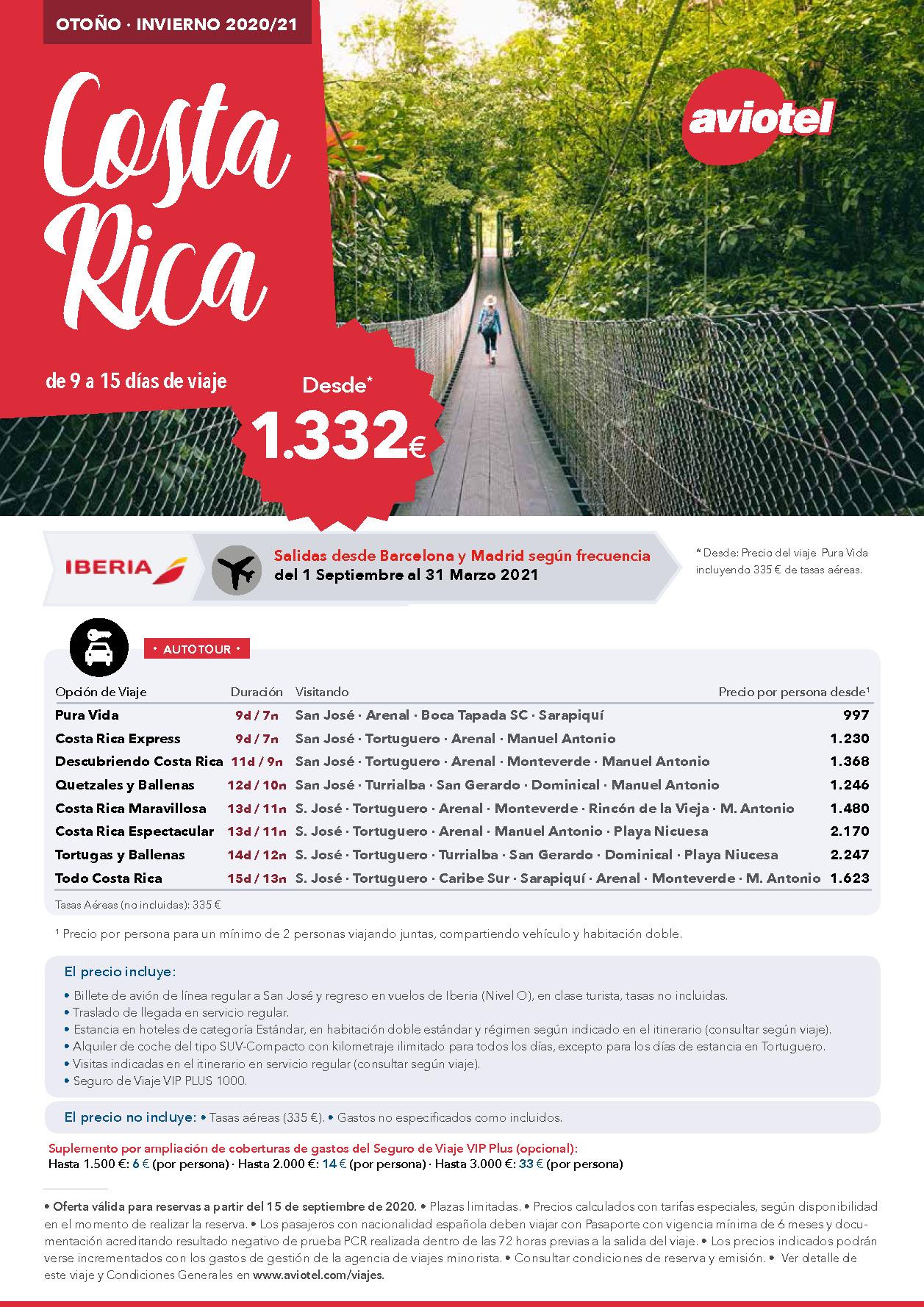 Oferta Aviotel Otoño e Invierno 2020-2021 en Costa Rica en coche de alquiler