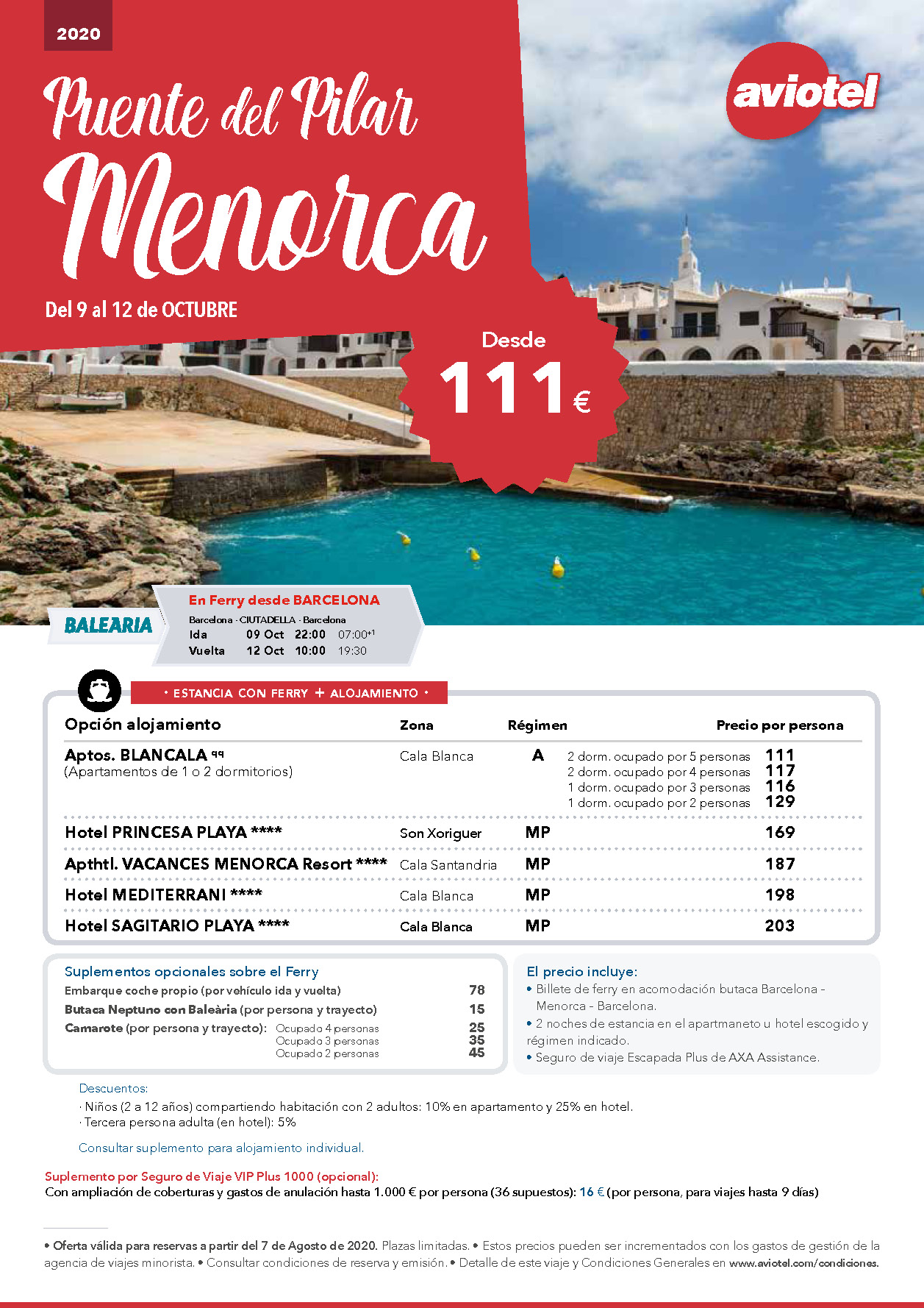 Oferta Aviotel Puente del Pilar 2020 Menorca en ferry salidas desde Barcelona