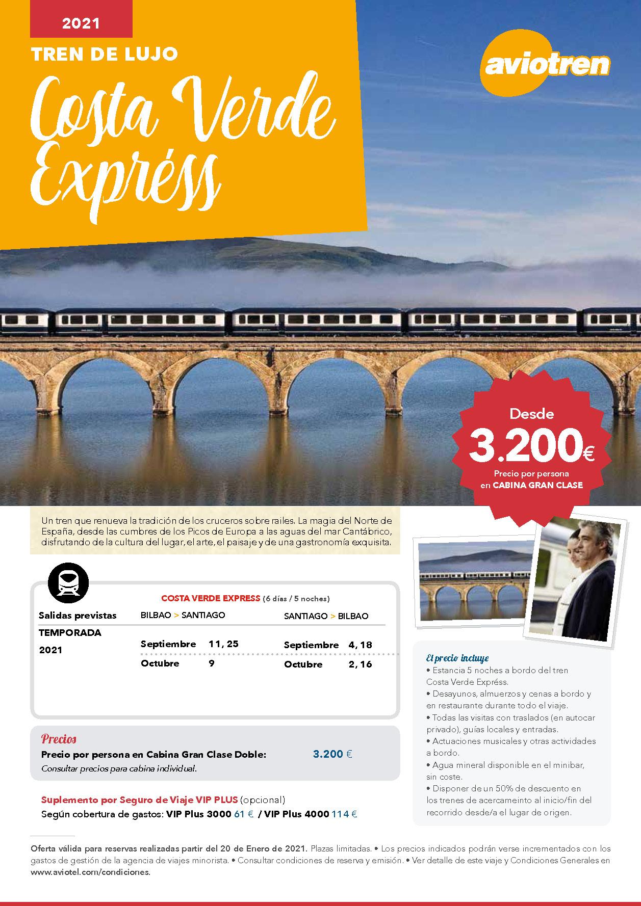Oferta Aviotel Tren de Lujo Costa Verde Express 2021