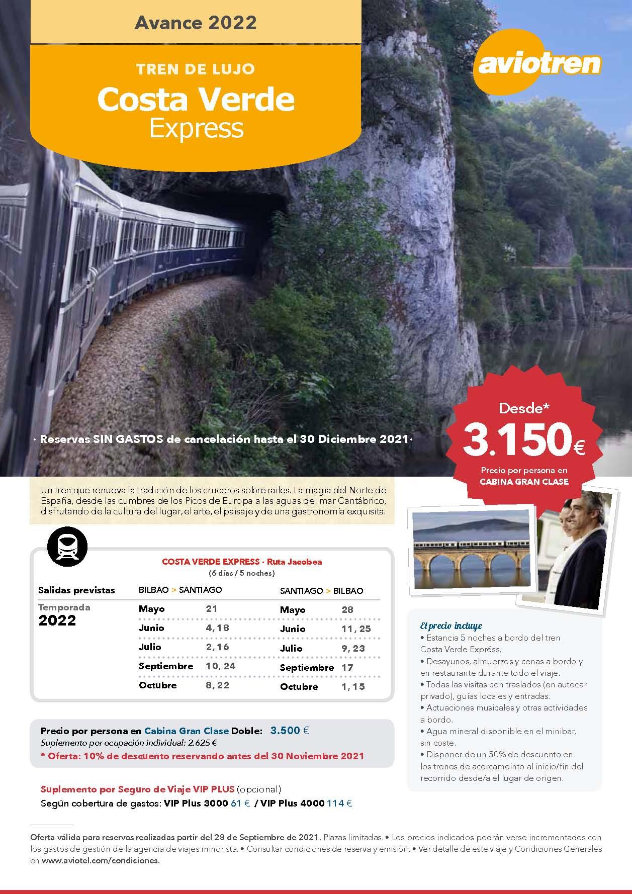 Oferta Aviotren Venta Anticipada Tren de Lujo Costa Verde Express 2022 hasta 31-12