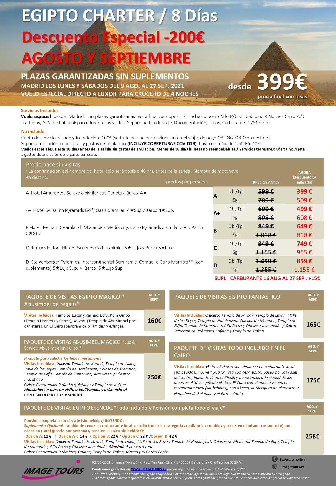 Oferta Chollo Image Tours Egipto Charter Circuito y Crucero Agosto y Septiembre 2021