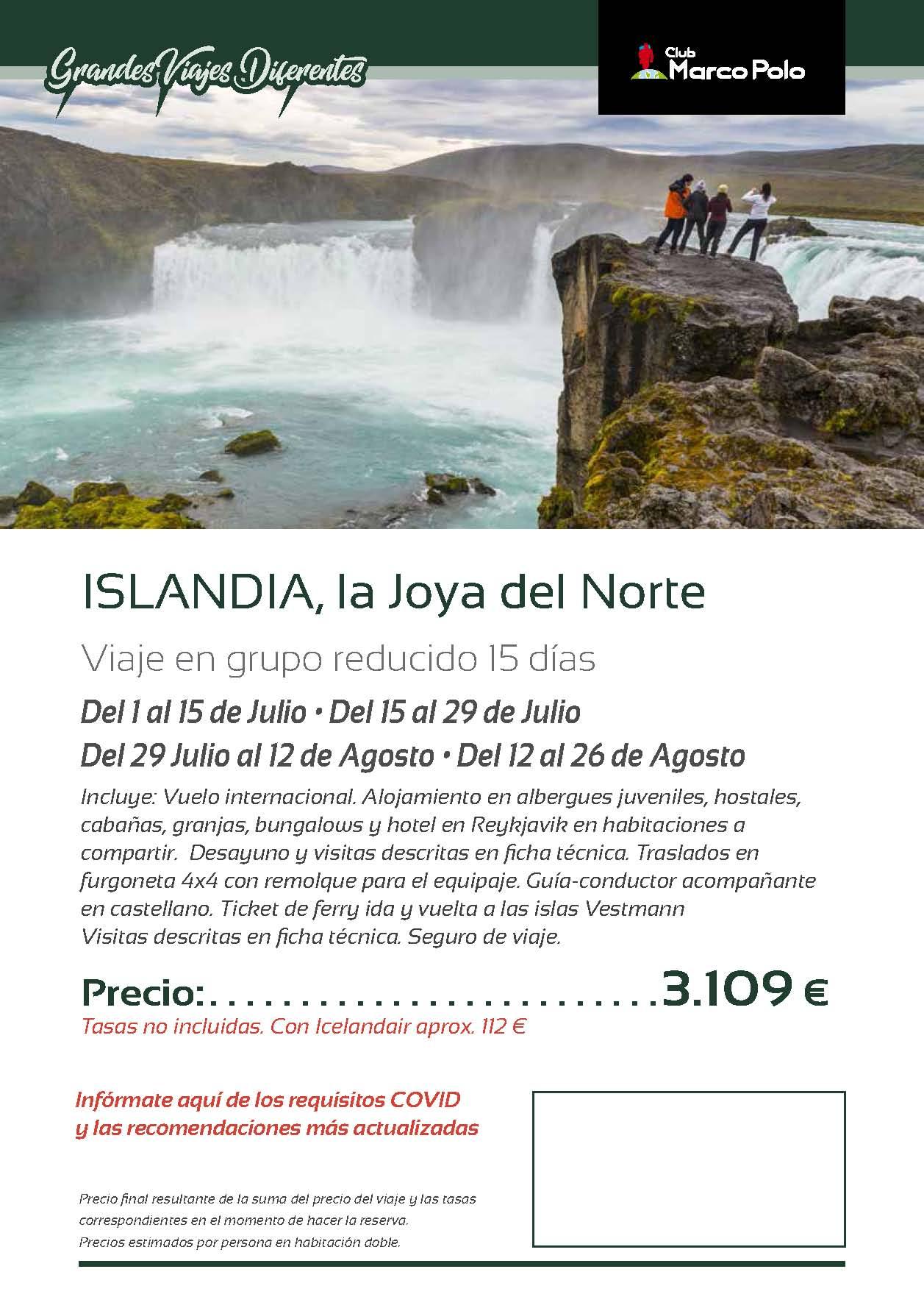 Oferta Club Marco Polo viaje a Islandia Julio y Agosto 2021