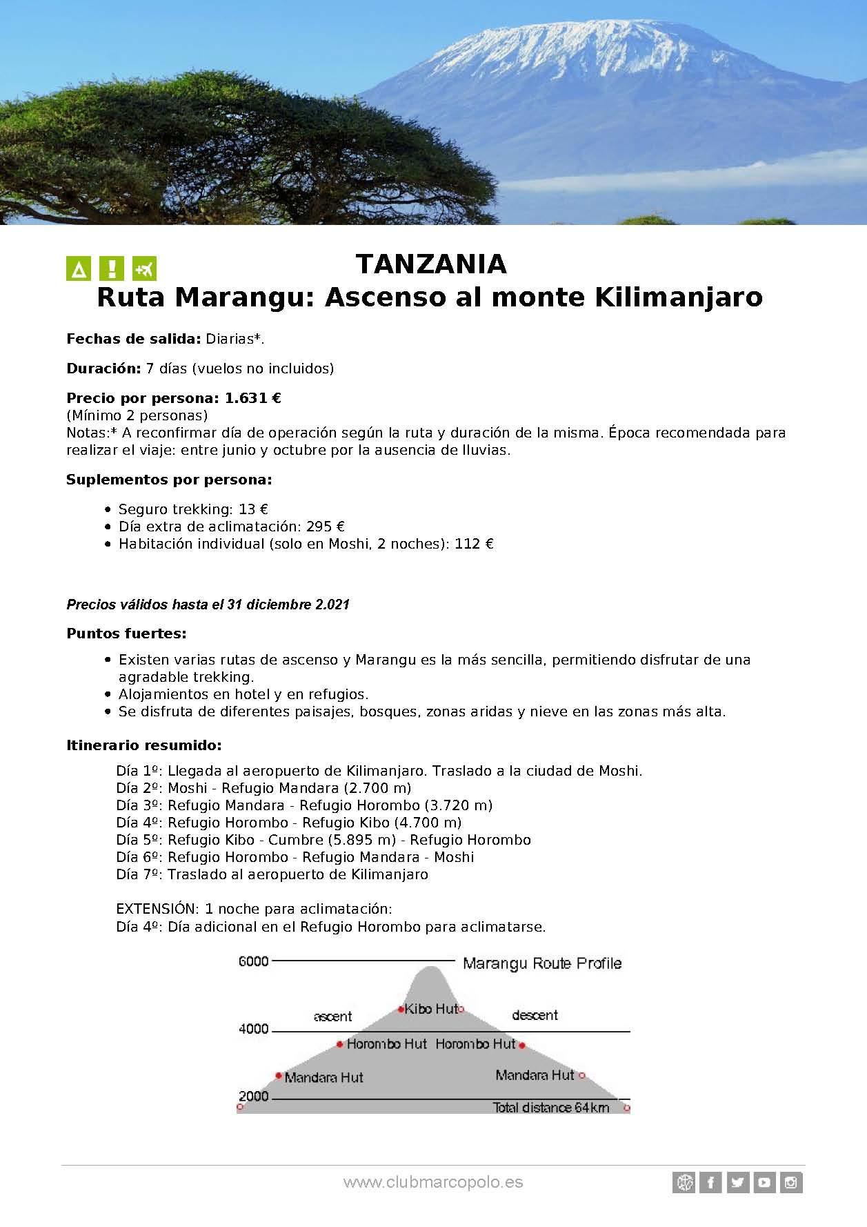 Oferta Club Marco Polo viaje a Tanzania Verano 2021 Ruta Marangu con ascenso al Kilimanjaro