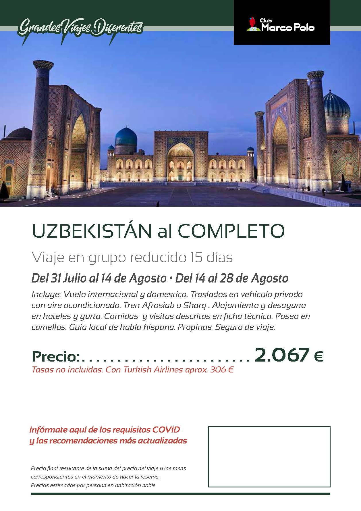 Oferta Club Marco Polo viaje a Uzbekistan Julio 2021