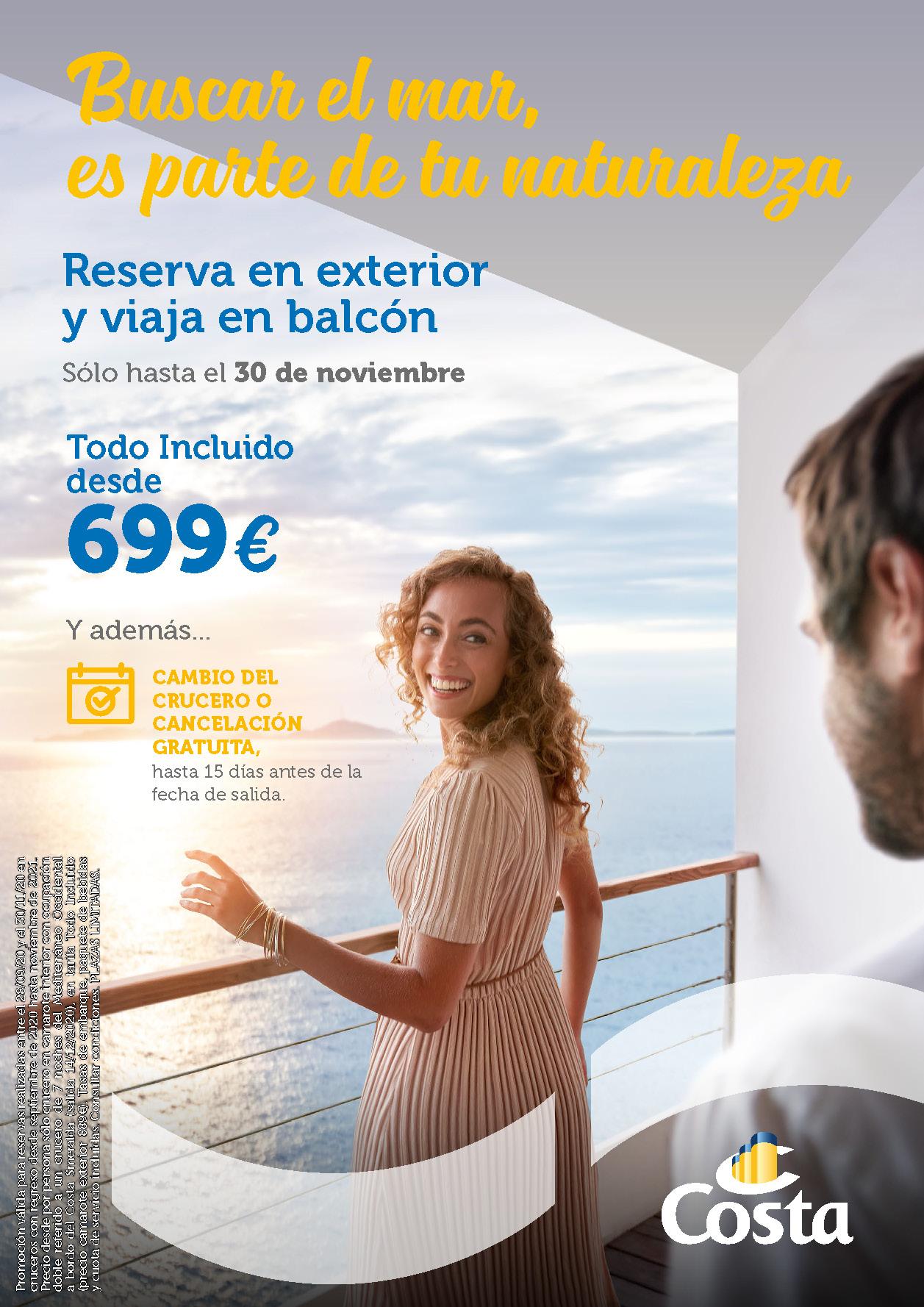 Oferta Costa Cruceros Octubre 2020 Balcon a precio de Exterior