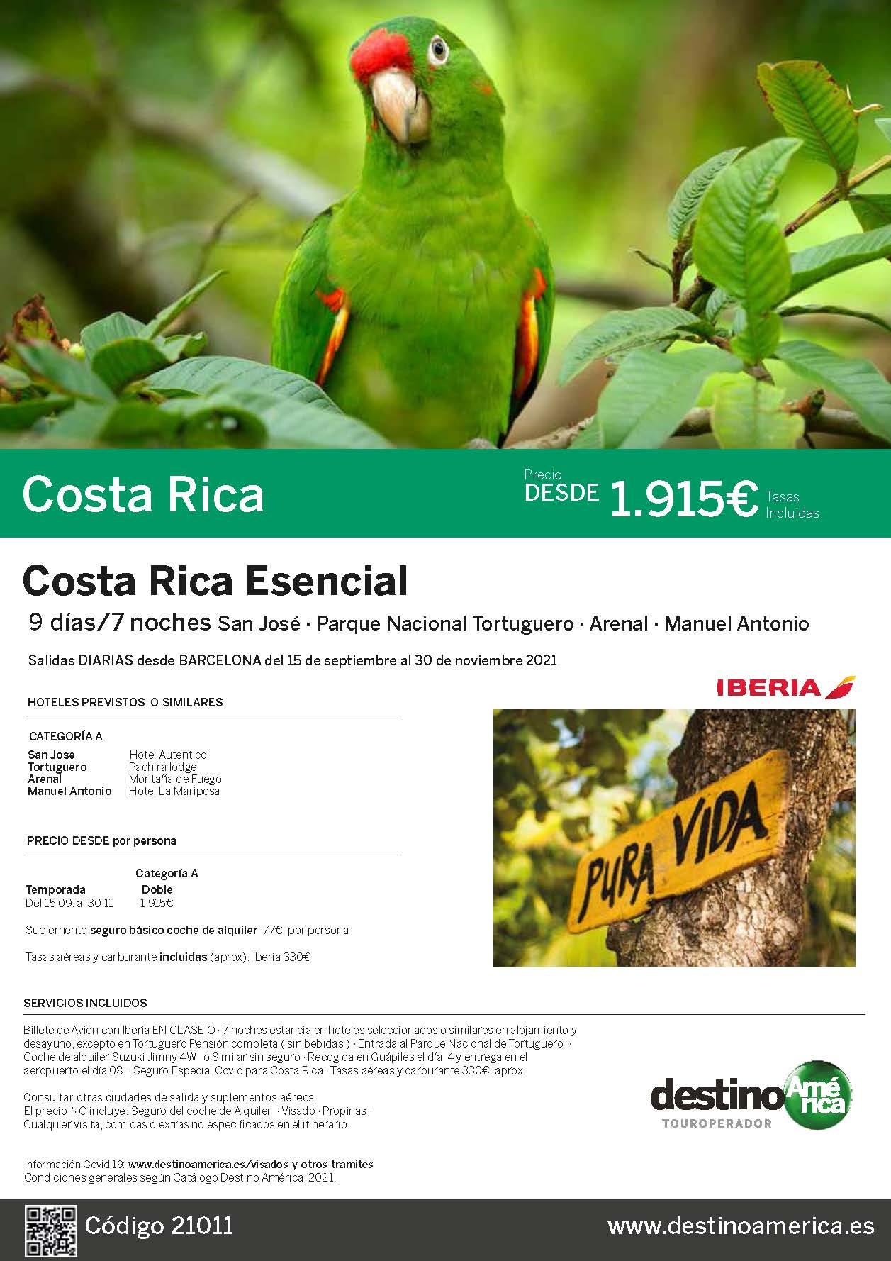 Oferta Destino America Costa Rica Esencial Octubre a Noviembre 2021 salida desde Barcelona