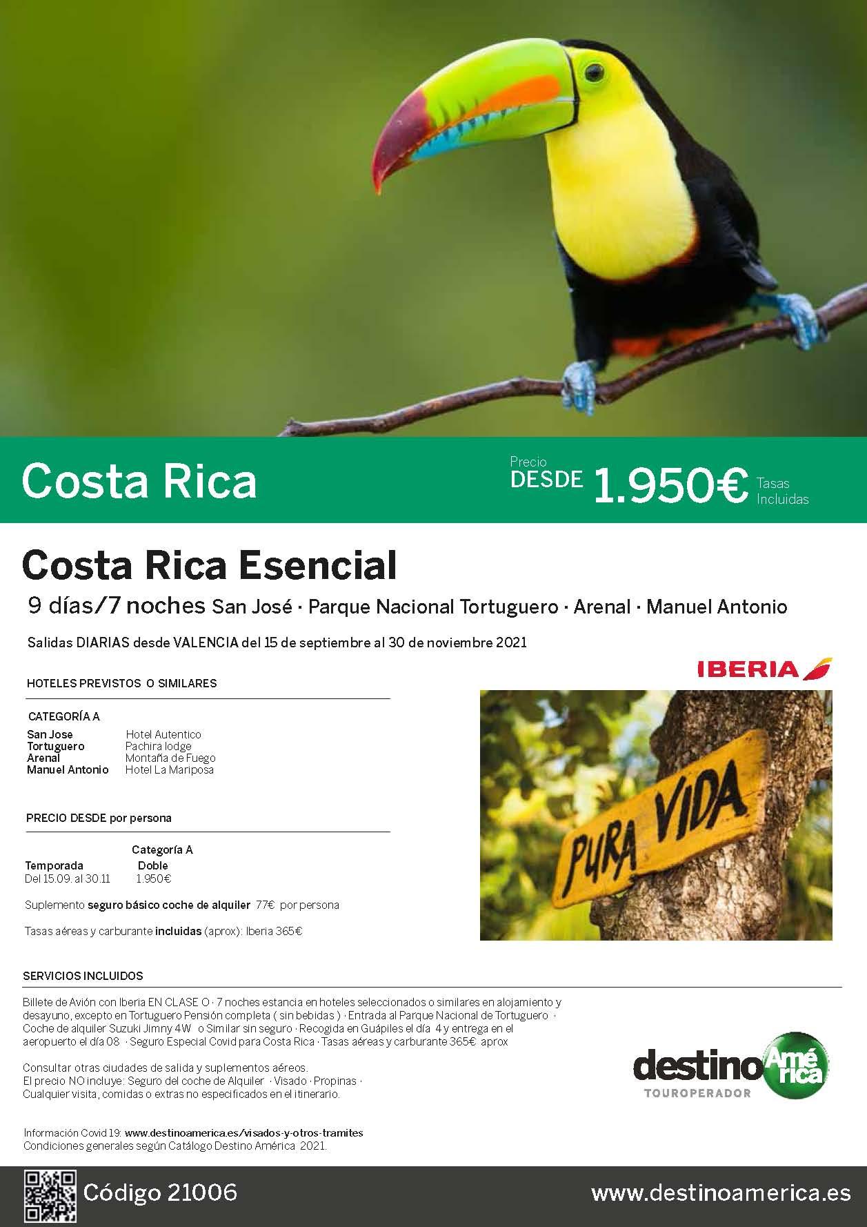 Oferta Destino America Costa Rica Esencial Octubre a Noviembre 2021 salida desde Valencia