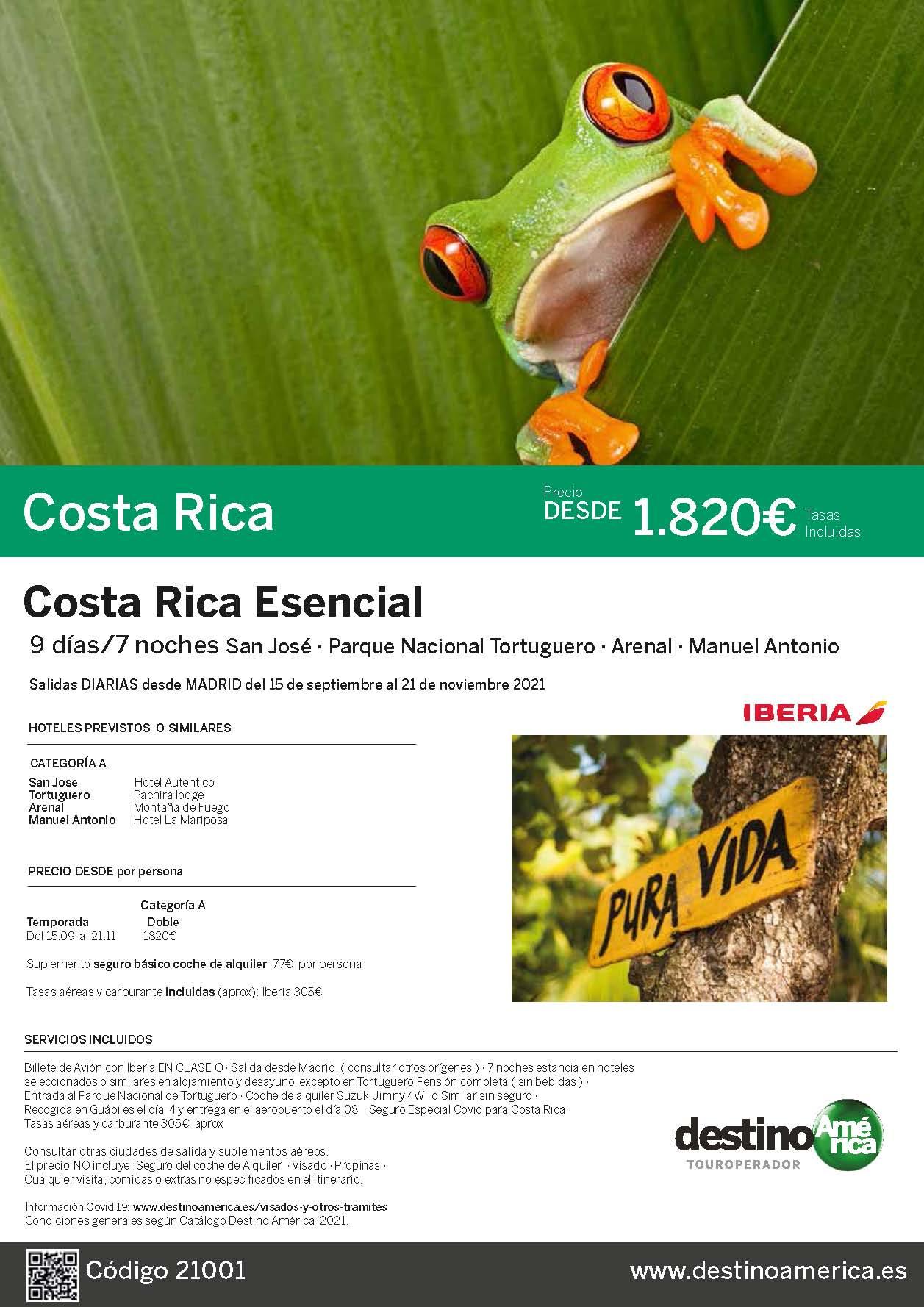 Oferta Destino America Costa Rica Esencial Octubre a Noviembre 2021 vuelo directo desde Madrid