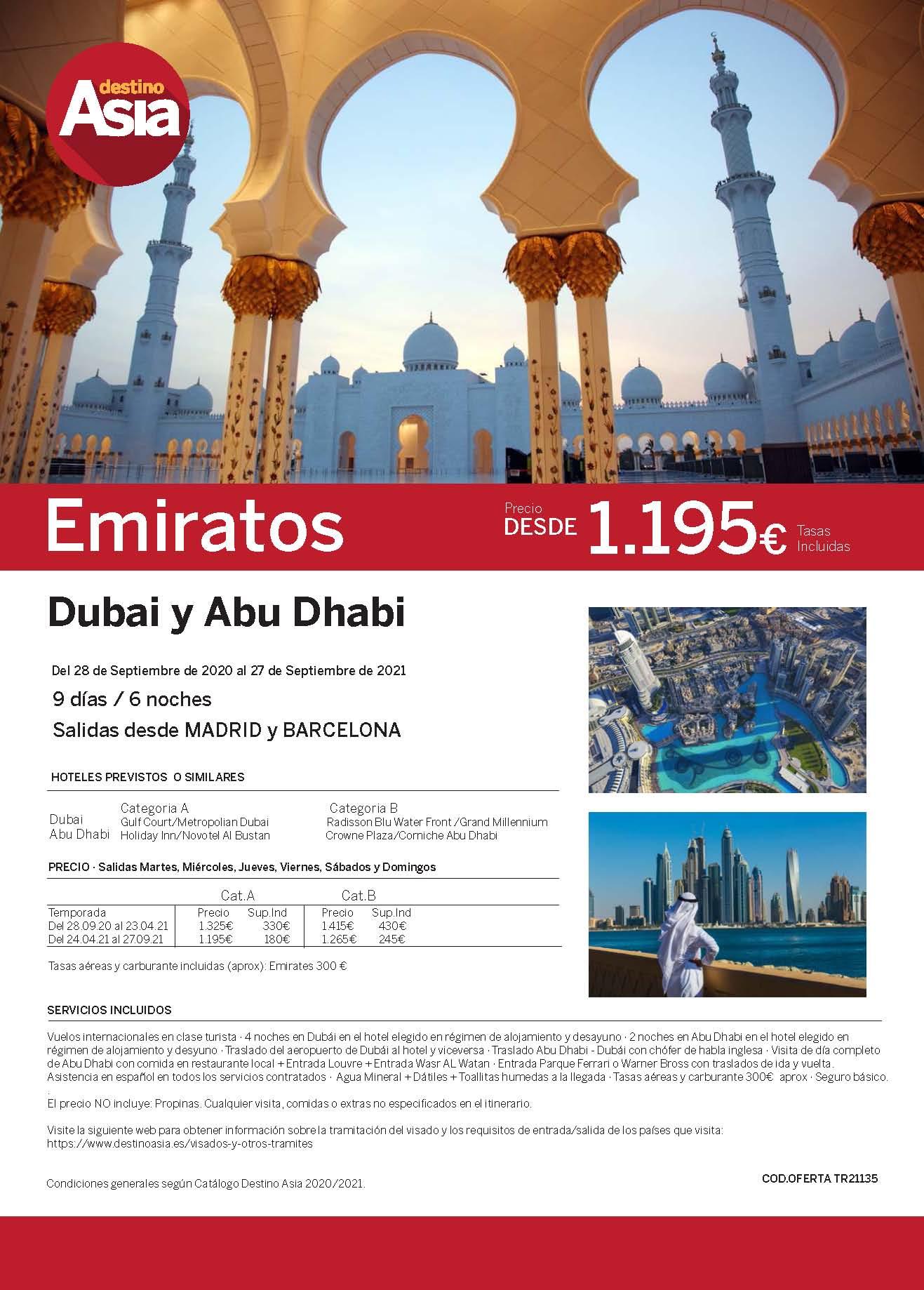 Oferta Destino Asia Dubai y Abu Dhabi Verano 2021