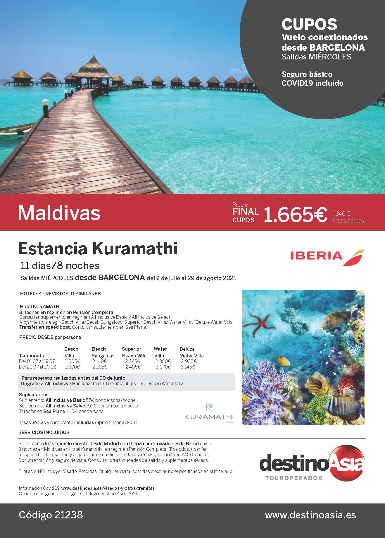 Oferta Destino Asia Estancia en Kuramathi Maldivas 2021 cupos salidas desde Barcelona
