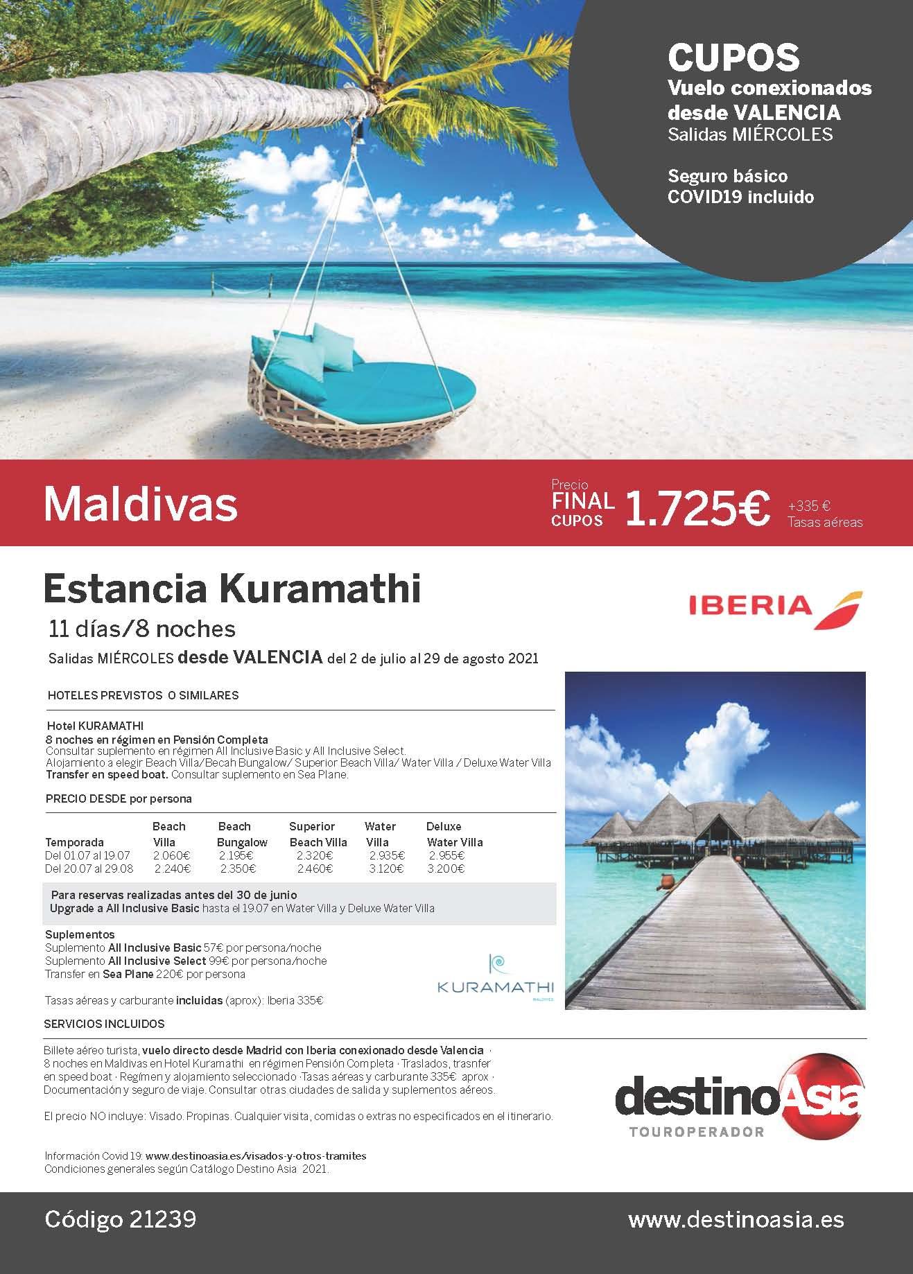 Oferta Destino Asia Estancia en Kuramathi Maldivas 2021 cupos salidas desde Valencia
