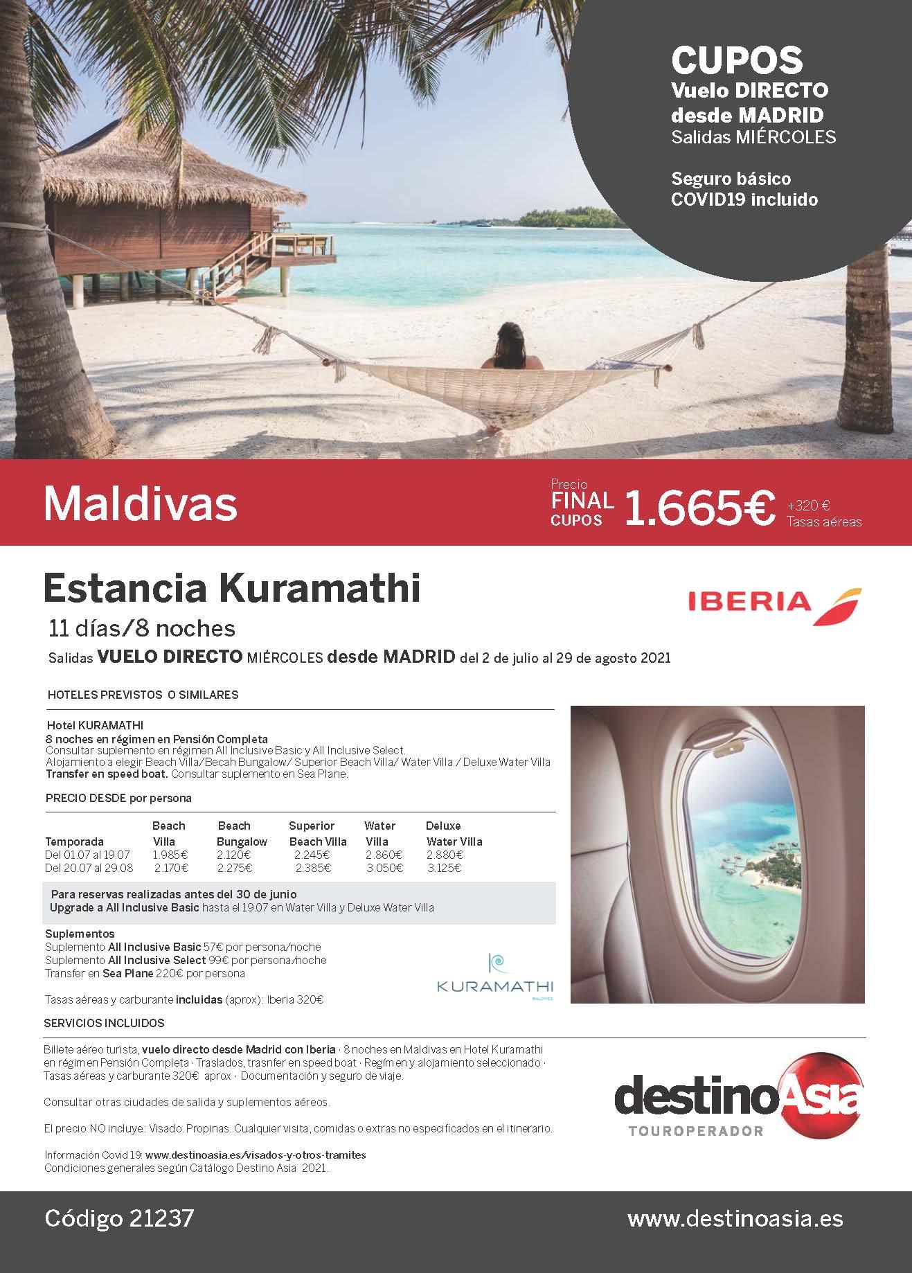 Oferta Destino Asia Estancia en Kuramathi Maldivas 2021 cupos vuelo directo desde Madrid