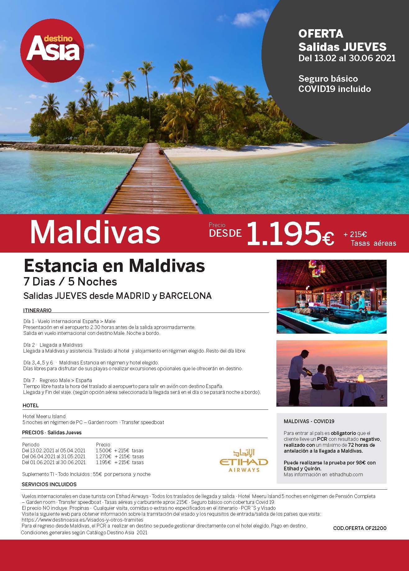 Oferta Destino Asia Estancia en Maldivas Febrero a Junio 2021 salidas desde Barcelona y Madrid