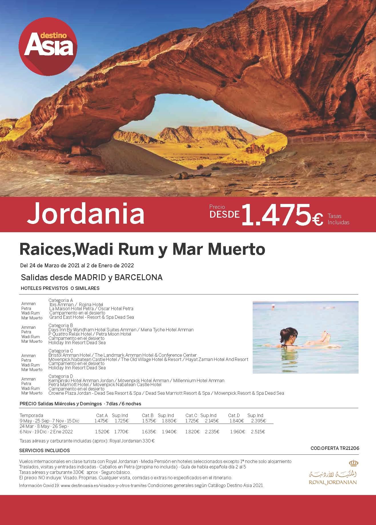 Oferta Destino Asia Jordania Raices Wadi Rum y Mar Muerto 2021