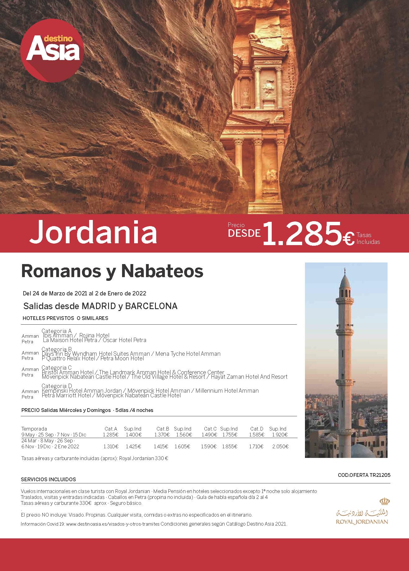 Oferta Destino Asia Jordania Romanos y Nabateos Primavera Verano y Otoño 2021